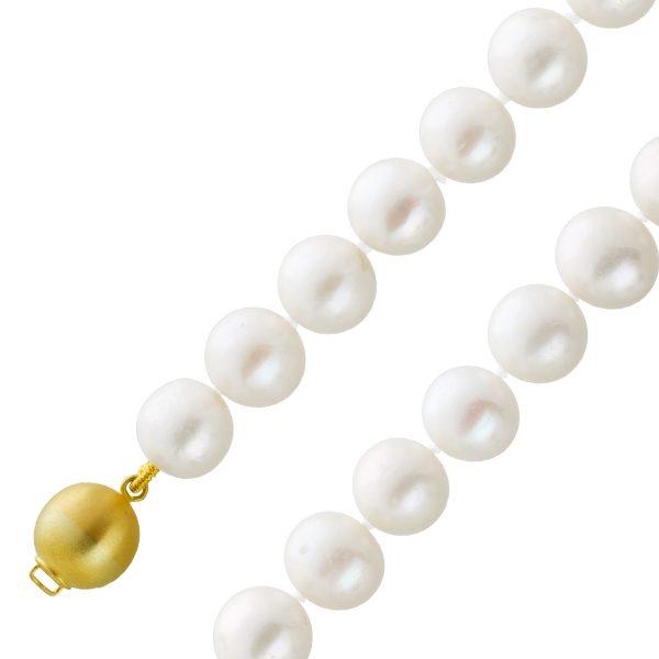 Perlen Kette Collier Kugelschliesse Gelbgold 585 matt weisse fast ganz runde Süsswassperzuchtperlen wenige nat. Einschlüsse 9,5-10mm 44cm