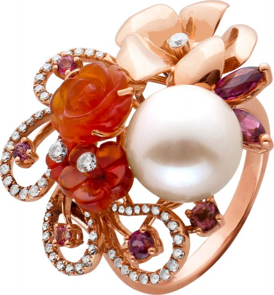 Perlen Edelstein Brillant Ring rosefarbene Akoyaperle Rosegold 750 Brillanten weiß 0,80 Carat TW/VVSI Carneol, Turmalin mit Görg Zertifikat