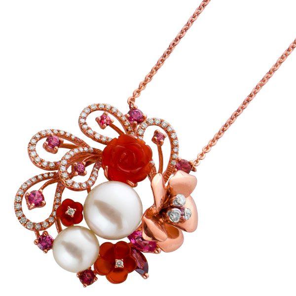 Diamantcollier weißen Brillanten Rosegold 750 Japanischen Akoyaperlen violettfarbenen Amethysten Achate orangefarben