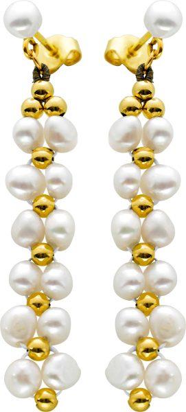 Perlohrhänger Gelbgold 585 perfekte chinesische Süßwasserzuchtperlen feinstes rose Perlenlustre Kartoffelform