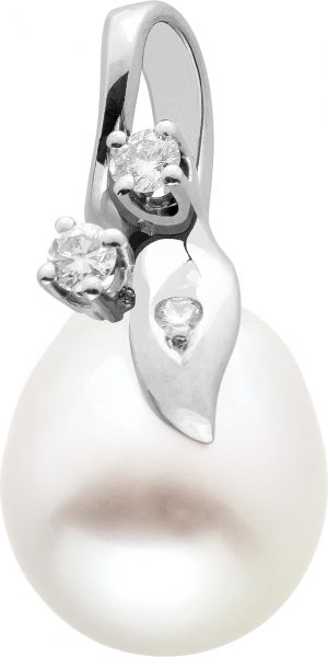 Südseeperlen Anhänger Weißgold 585 Brillanten TW/VVSI 0,07ct Tropfen Perle Weiß Lüster Fast Keine Natürlichen Einschlüsse