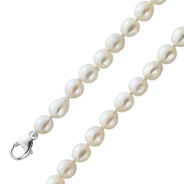 Perlen Kette Collier japanische Akoyazuchtperlen Barock Form leicht cremefarben Silber 925 Verschluss Länge 44cm