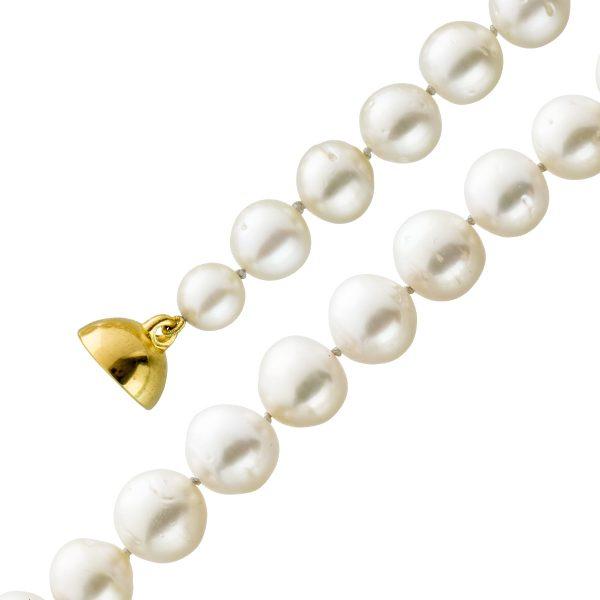 Südseeperlen Halskette Collier Magnetverschluss Silber 925 gelb vergoldet leicht unrunde cremefarbenen Perlen 47cm