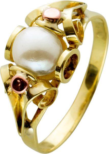Antiker Perlenring Gelbgold Rosegold 585 Akoyaperle