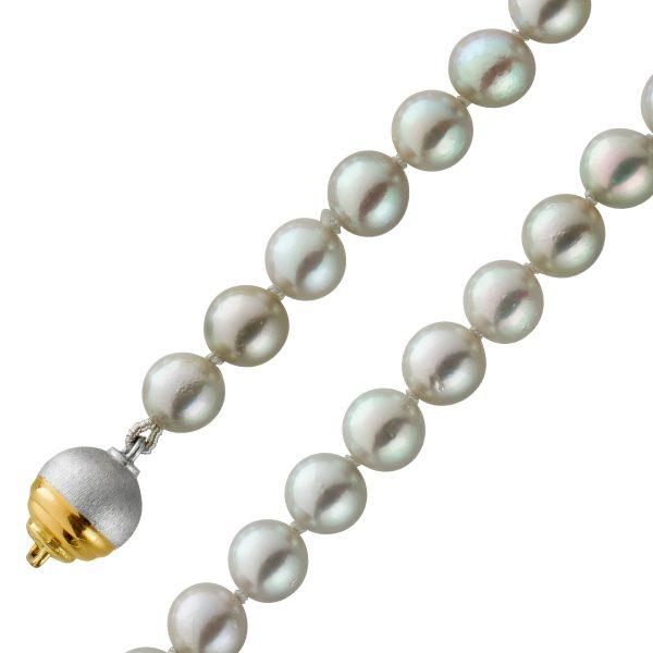 Perlenkette Japanische Akoyaperlen Top Lüster Schließe Weissgold Gelbgold 585