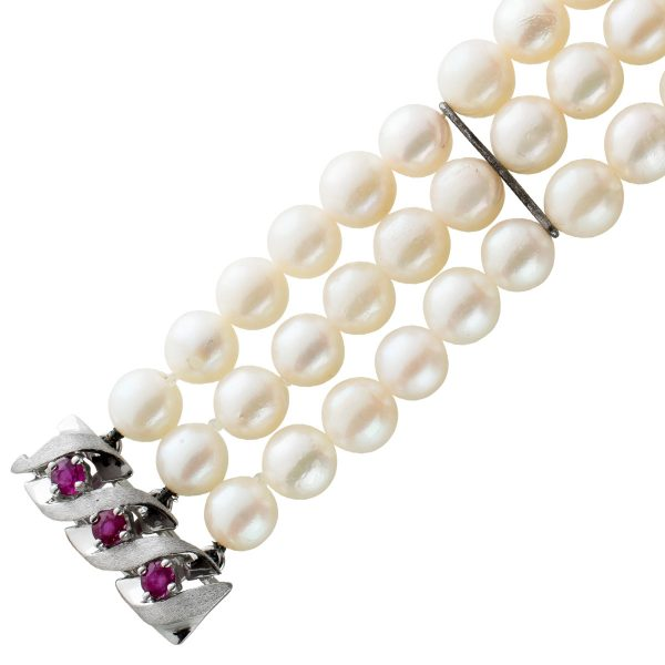 Perlenarmband Japanische Akoyaperlen 3-reihig 20mmBreit  Weissgold Rubin Edelstein Schließe 585