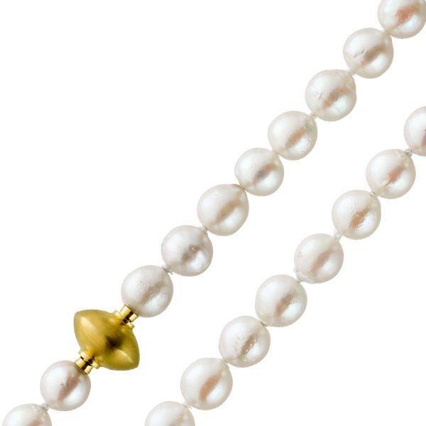 Perlencollier Japanische Akoyaperlenkette 7mm Barocke Form Gelbgold 14 Karat Schließe 43cm