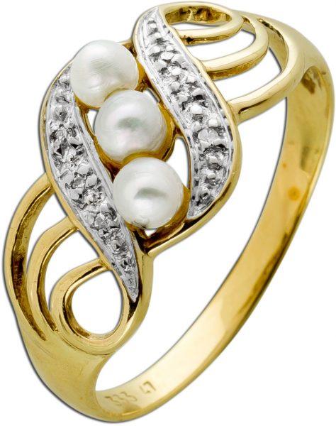 Antiker Perlen Diamant Ring Gelbgold Weissgold 333 3 Flussperlen Rose-Cremefarben W/P 0,03 Carat Um 1970 TOP Zustand