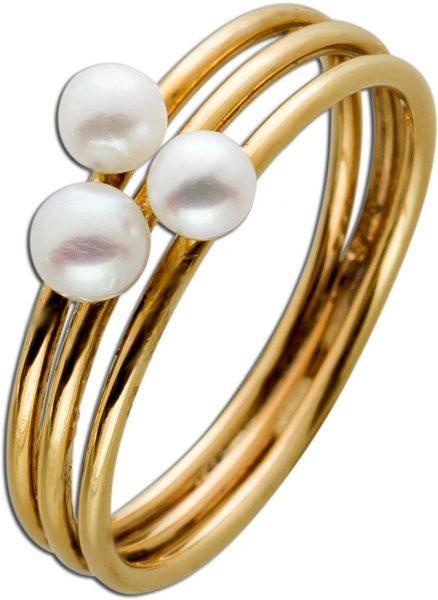 Antiker Perlenring Gelbgold 14 Karat  3 echte Flussperlen feinstes rose Perlenlustre Gr.16mm