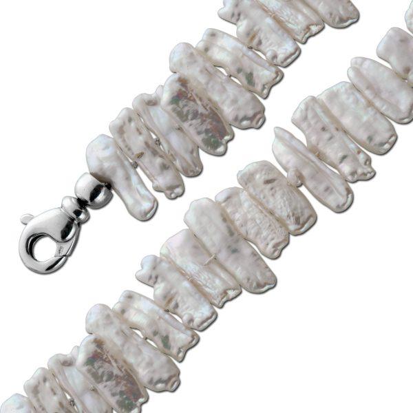 Perlenkette Biwaperlenkette Silber 925/- Karabiner weiß rose riesige Biwaperlen aus Japan jede ein Unikat