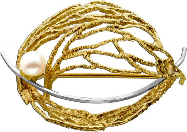 Antike Brosche Gelbgold Weissgold 333 Akoya Perle Um 1950 TOP Zustand