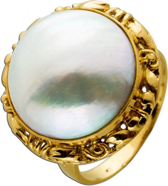 Antiker Ring um 1970 GelbGold 750 1 Mabe Perle weiß rose grau Lustre