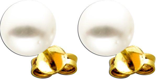Ohrstecker Gelbgold 585 14 Karat 2 Akoya Perlen jeweils 8mm ganz rund perfektes Perlenlustre rose