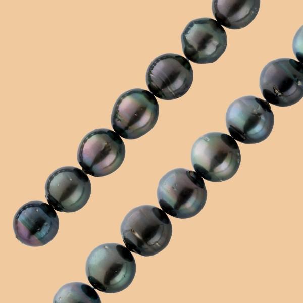 Tahitiperlenkette schwarz-anthrazit, 14,...