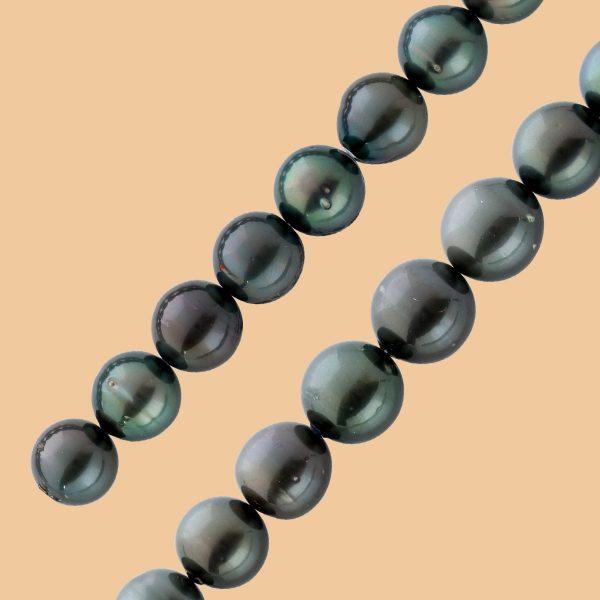 Tahitiperlenkette grosse schwarze anthra...