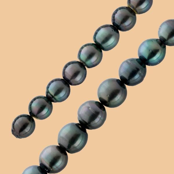Tahitiperlenkette schwarz-anthrazit, 13-...