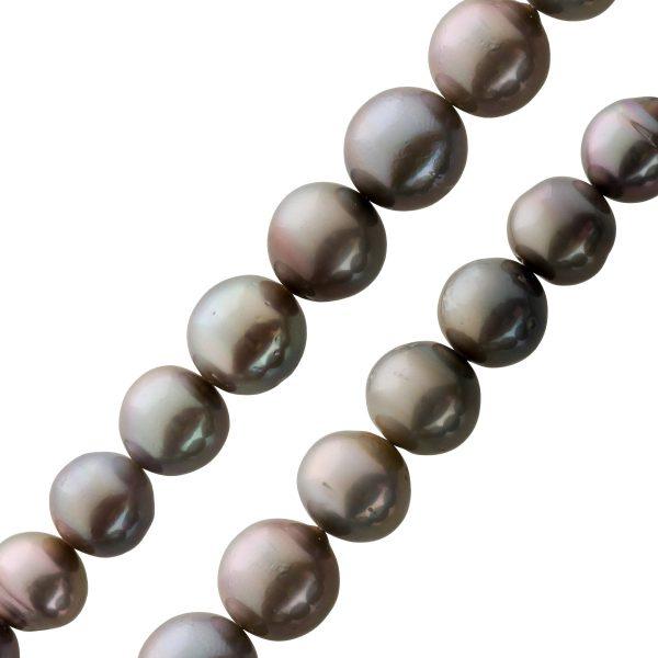 Perlenkette Tahitiperlen schwarz grau Perlen Kette Weißgold 585 14kt Karabiner Verlauf 9mm – 12mm