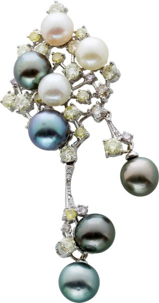 Perl Diamant Anhänger Weissgold 750/- Brillanten 3ct W/SI-Crystal/P2 Tahitiperlen Akoyaperlen