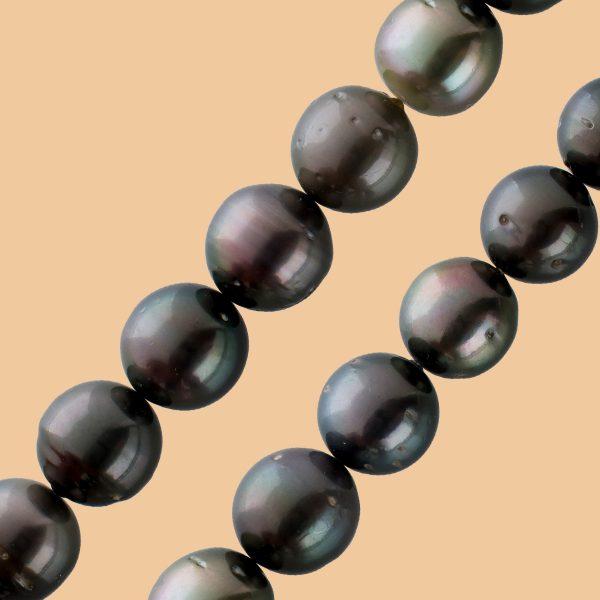 Perlenkette unrund Tahiti Perlen schwarz-antrazit natürliche Einschlüssen Silber 925 Karabiner