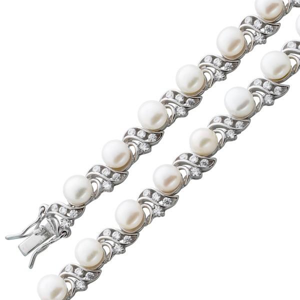 Armband Silber 925 weiße Süßwasserper...