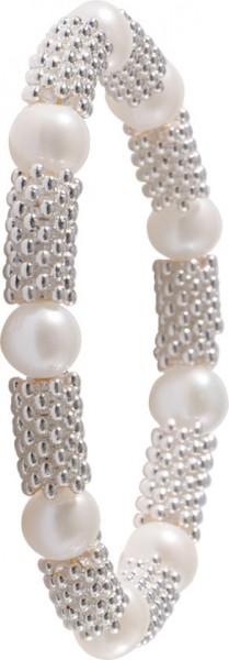 Edles Zugarmband 19-21cm dehnbar mit stretch und flex Band, verziert mit weissen runden Süsswasserzuchtperlen Ø 9 mm, das Band besteht aus Metall, ein Perlenarmband im natürlichen Design zum Schnäppchenpreis von Ihrem Vertrauensjuwelier seit