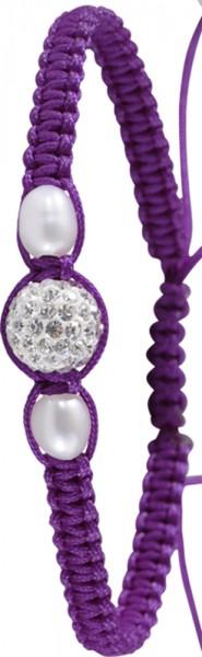 Shamballa Armband mit Süsswaasseruchtperlen und Kristallkugel