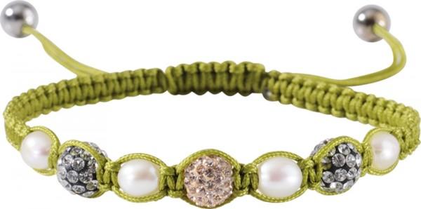 Shamballa Armband mit Süßwasserzuchtperlen und Kristallkugeln