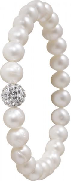 Perlenarmband Perlenband Armband Perlen weisse Süsswasserzuchtperlen dehnbar