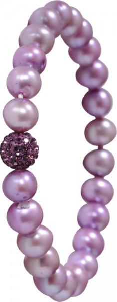 Shamballa Armband lilafarbene Süsswasserzuchtperlen dehnbar Kristallkugelzwischenteil