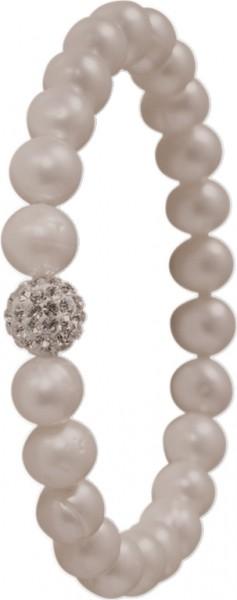 Shamballa Armband a. grauenSüsswasserzuchtperlen,dehn-bar, mit Kristallkugel,Durchmesser 8-9mm