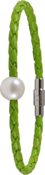 Toyo Yamamoto Lederarmband gruen  Edelstahl Verschluss Suesswasserzuchtperle 9,5mm Groesse 19 cm lang