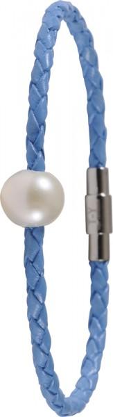 Toyo Yamamoto Lederarmband himmelblau 19cm laenge, Suesswasserzuchtperle, 9,5mm, Edelstahl Clip Verschluss