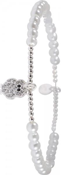 Armband in Silber Sterlingsilber 925/-, dehnbar, rhodiniertmit synth. weissen Perlen,Eulenanhaenger mit 16 Zirkonia besetzt