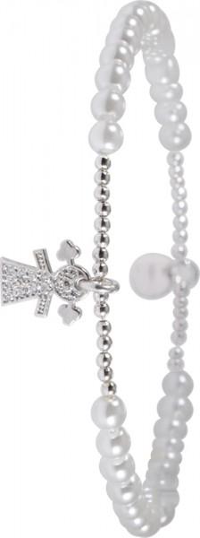 Armband in Silber Sterlingsilber 925/-, dehnbar, rhodiniertmit synth. Perlen,AnhaengerMaedchen mit 13 Zirkoniabesetzt