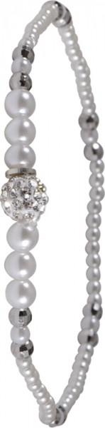 Armband aus synth. Perlen,Zwischenteile aus Sterling-silber 925/-, Kristallkugeldehnbar
