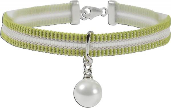 Nylonarmband grün-weiß dehnbar Anhäng...