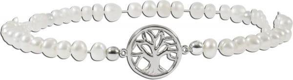Armband Süßwasserzuchtperlen Silber Sterlingsilber-Lebensbaum 17cm dehnbar
