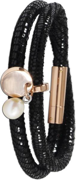 Lederband Armband mit Fischschuppen Prägung, mit Süsswasserzuchtperle , teils Rose vergoldet, Toyo YamamotoT-Y