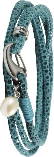Lederband Armband grün mit Fischschuppen Prägung, mit Perle und verschluss in edelstahl, T-Y