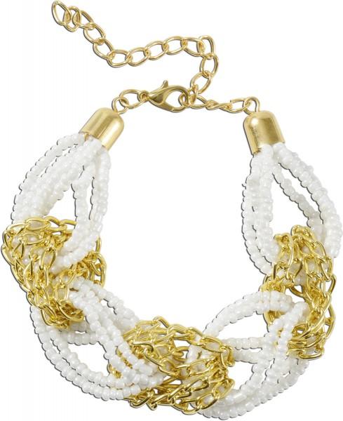 Crystal Blue Armband Metall gelb vergoldet, mit weißen Kunstperlen