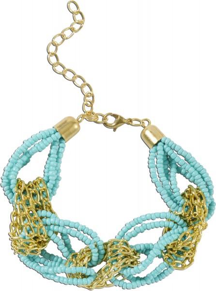 Crystal Blue Armband Metall gelb vergoldet, mit türkisfarbenen Kunstperlen