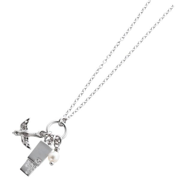 Silberkette mit Anhänger – Sterling Silber 925/- mit Brief, Zirkonia und Süßwasserzuchtperle