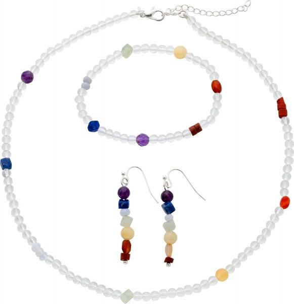 Chakra Crystal Set Kette Armband Ohrhän...