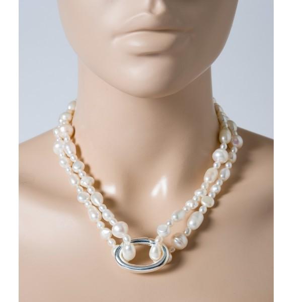 Perlenkette weiß Perlen Silber 925 Kett...