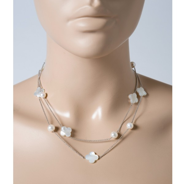 Perlenkette Perlencollier Sterling Silbe...
