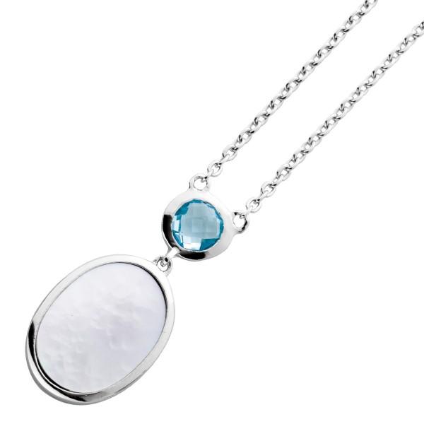 Perlmutt  Blautopas Halskette Silber 925...