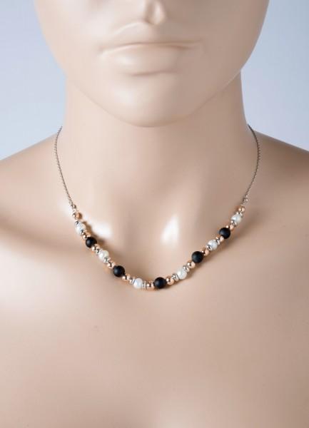 Kette Perlen Silber 925 roségold vergol...