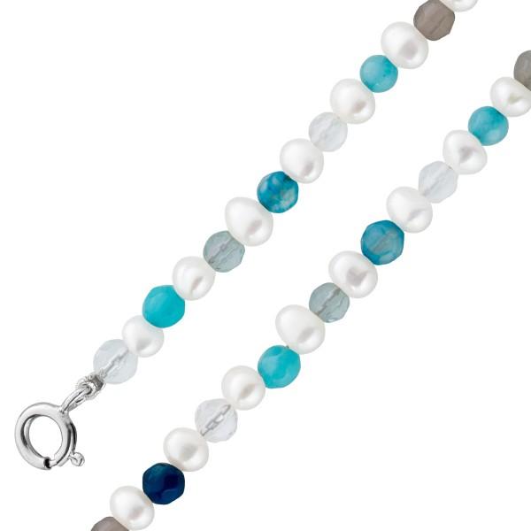 Edelstein perlenkette Perlencollier Perlenarmband Set  Silber 925 bunte perlen bunter Achat Hammerpreis