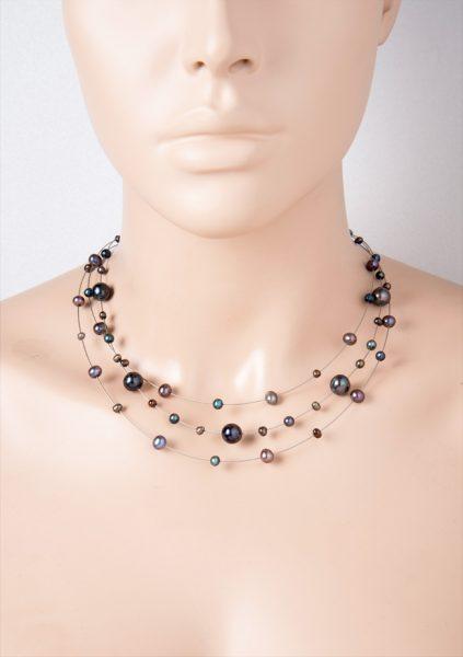 Perlenhalsreif Perlen schwarz Kette Edelstahl Süßwasserzuchtperlen
