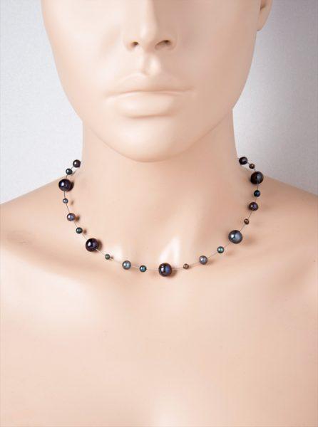 Kette Perlen schwarz Halsreif Edelstahl Süßwasserzuchtperlen